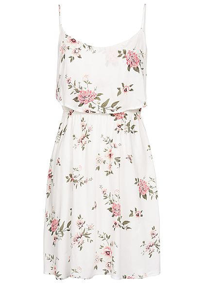 Seventyseven Lifestyle Damen Mini Strap Dress Flower Print weiss multicolor