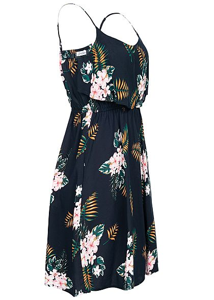 Hailys Damen V-Neck Mini Kleid 2-lagig oben Floraler Print navy blau
