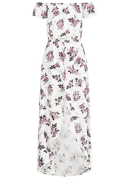 Seventyseven Lifestyle Damen 2in1 Off-Shoulder Maxi Dress Jumpsuit off weiss rosa
