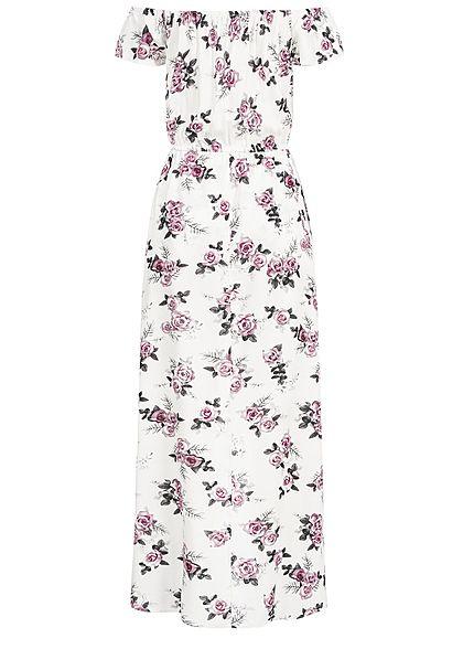 Seventyseven Lifestyle Damen 2in1 Off-Shoulder Maxi Dress Jumpsuit off weiss rosa