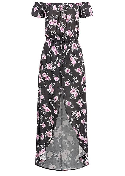 Seventyseven Lifestyle Damen 2in1 Off-Shoulder Maxi Dress Jumpsuit schwarz rosa