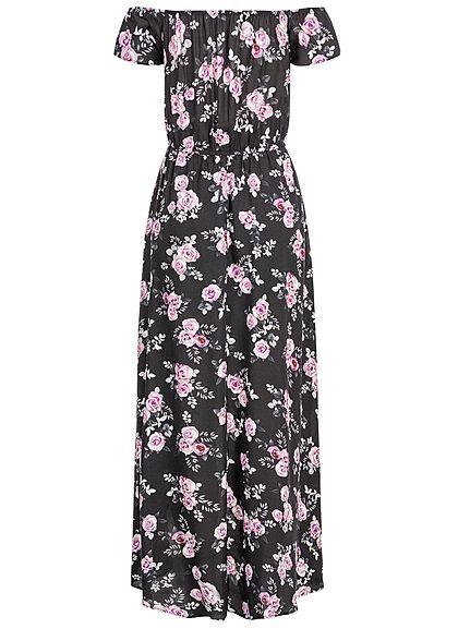 Seventyseven Lifestyle Damen 2in1 Off-Shoulder Maxi Dress Jumpsuit schwarz rosa