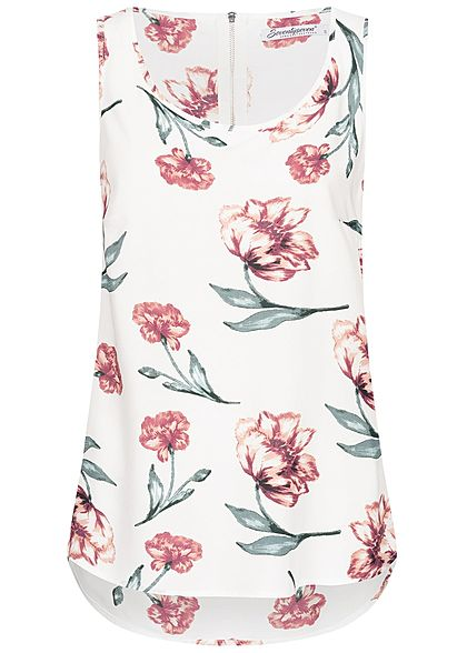 Seventyseven Lifestyle Damen Blouse Top Flower Print off weiss rot