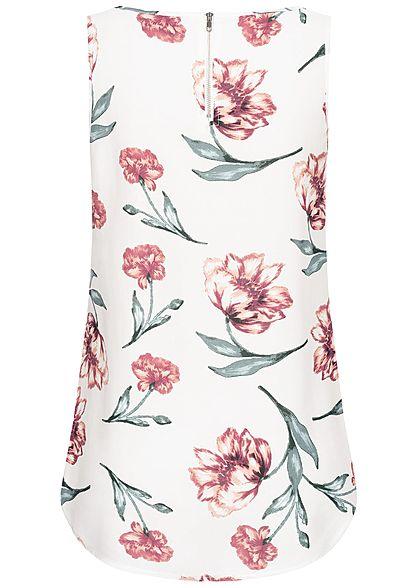 Seventyseven Lifestyle Damen Blouse Top Flower Print off weiss rot