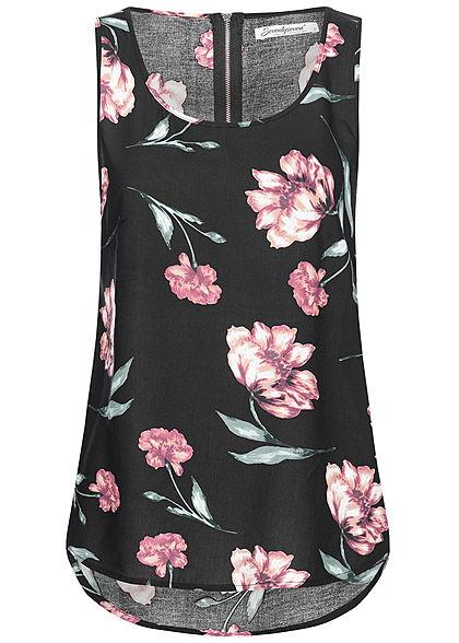 4b0f375b7fcb08 Seventyseven Lifestyle Damen Blusen Top Blumen Muster schwarz rosa ...