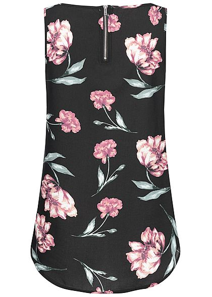 Seventyseven Lifestyle Damen Blouse Top Flower Print schwarz rosa