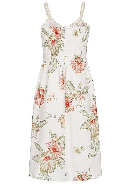 Seventyseven Lifestyle Damen Mini Crochet Dress Floral Print Bow off weiss
