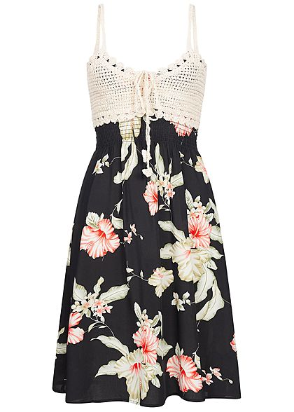 Seventyseven Lifestyle Damen Mini Crochet Dress Floral Print Bow schwarz beige