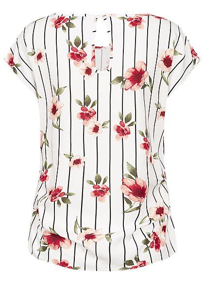 Seventyseven Lifestyle Damen Gathering Blouse Shirt Flower& Stripes Print off weiss rot