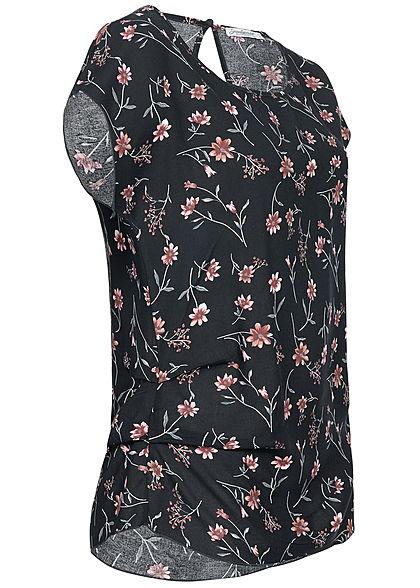 Seventyseven Lifestyle Damen Gathering Blouse Shirt Flower Print navy blau rosa