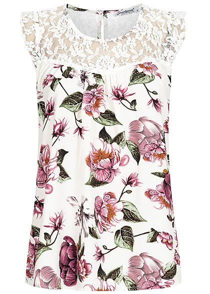aa66ea03166898 Seventyseven Lifestyle Damen Lace Top Flower Print off weiss rosa grün -  77onlineshop