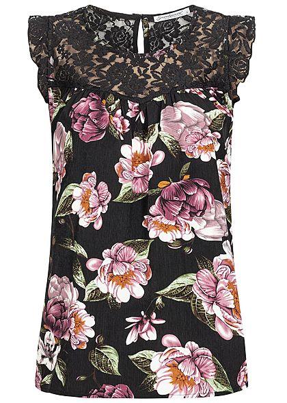 656bafd72949f2 Seventyseven Lifestyle Damen Lace Top Flower Print schwarz rosa grün -  77onlineshop