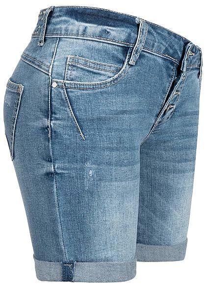 Seventyseven Lifestyle Damen Denim Bermuda Shorts 5-Pockets Buttons Front medium blau