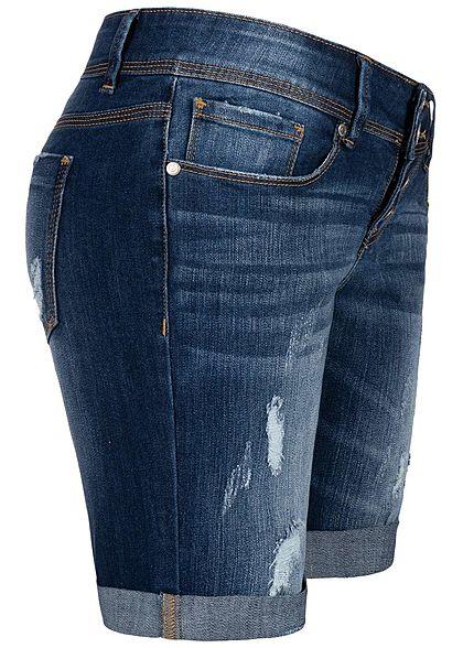 Hailys Damen Bermuda Jeans Shorts 5-Pockets Destroy Optik dunkel blau denim