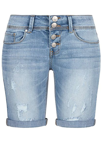 Seventyseven Lifestyle Damen Jeans Shorts 5 Pockets Buttons Front Hell Blau Denim