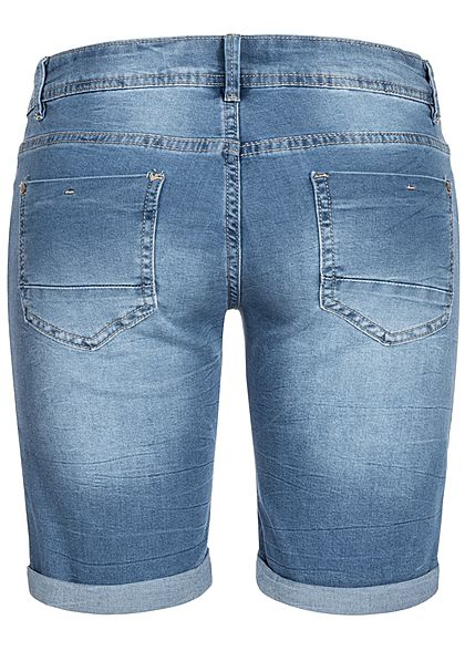 Seventyseven Lifestyle Damen Midi Jeans Shorts 5-Pockets medium blau denim