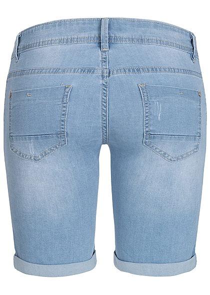 Seventyseven Lifestyle Damen Midi Jeans Shorts 5-Pockets medium hell blau denim