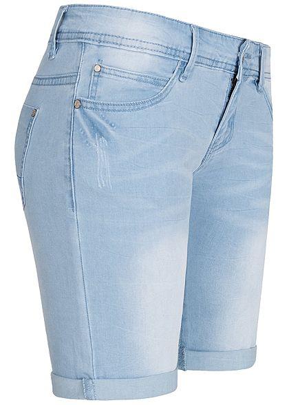Seventyseven Lifestyle Damen Midi Jeans Shorts 5-Pockets hell blau denim