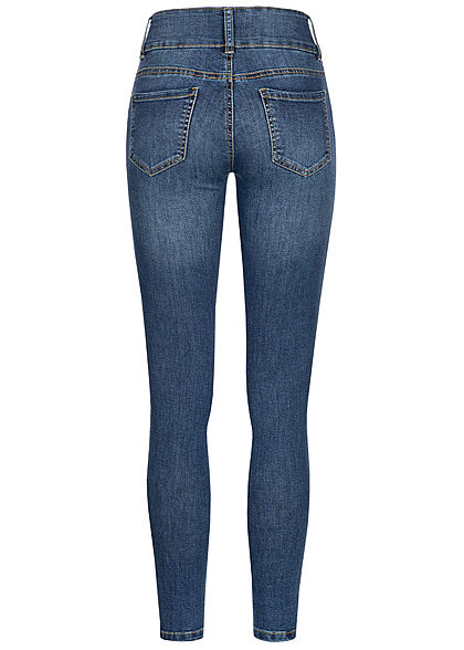Seventyseven Lifestyle Damen High-Waist Skinny Jeans 5-Pockets dunkel blau denim