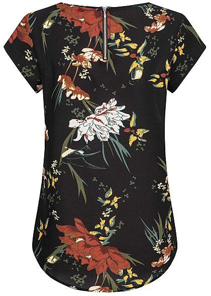 ONLY Damen Blouse Shirt Zipper Flower Print NOOS schwarz multicolor