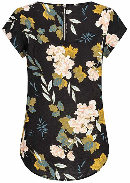 ONLY Damen NOOS Blusen Top Blumen Print Zipper hinten schwarz gelb