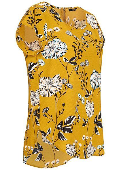 ONLY Damen Blouse Shirt Zipper Flower Print NOOS chai tea gelb