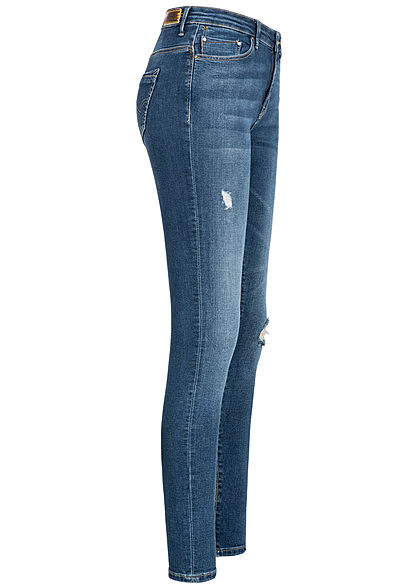 ONLY Damen Skinny Jeans HW 5-Pockets Destroy Look NOOS medium blau denim