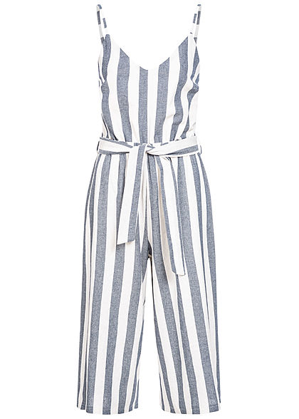 Hailys Damen Striped Belt V-Neck Jumpsuit blau weiss