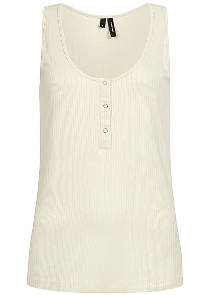 Vero Moda Damen Ribbed Buttons Tank Top birch beige