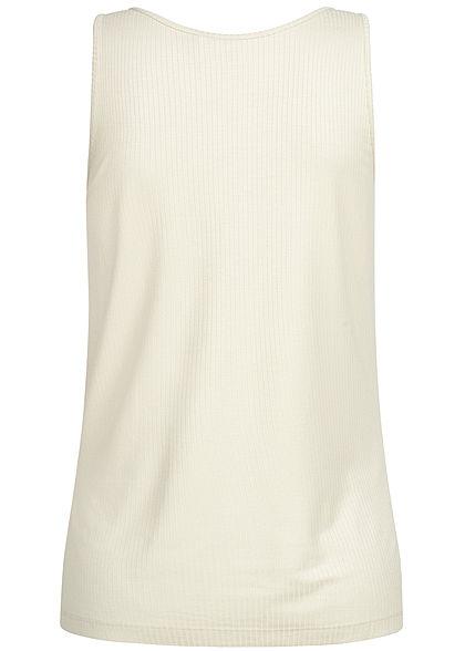 Vero Moda Damen Ribbed Buttons Tank Top birch beige