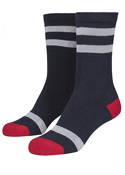 Seventyseven Lifestyle TB 2-Pack Striped Socks navy blau weiss rot