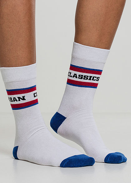 Seventyseven Lifestyle TB 2-Pack Striped Sport Socks weiss rot blau