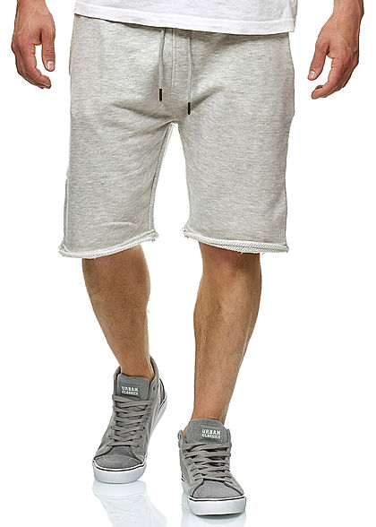 Seventyseven Lifestyle Herren Sweat Shorts 2-Pockets offene Kanten hell grau - Art.-Nr.: 20068057