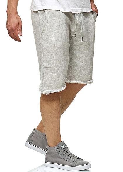 Seventyseven Lifestyle Herren Sweat Shorts 2-Pockets offene Kanten hell grau