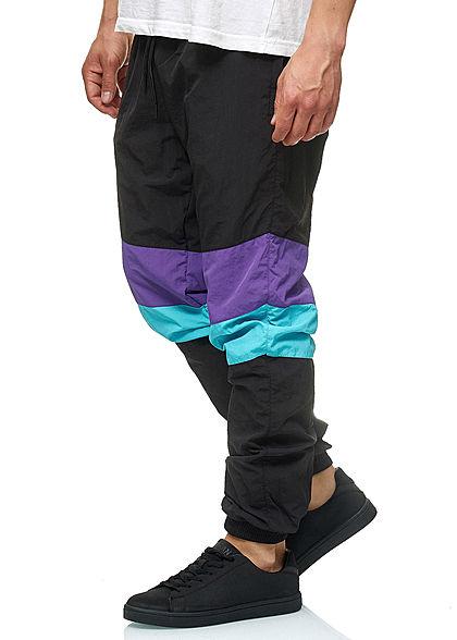 Seventyseven Lifestyle TB Herren Crinkle Colorblock Pants schwarz lila aqua blau