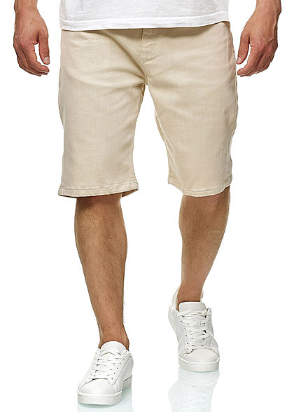 Seventyseven Lifestyle TB Herren Denim Stretch Shorts 5-Pockets sand beige