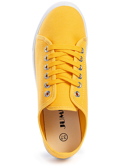 Seventyseven Lifestyle Damen Canvas Flat Sneaker gelb