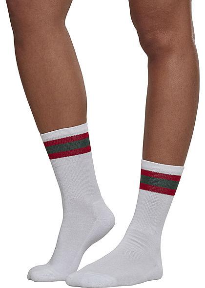 Seventyseven Lifestyle TB 2-Pack Striped Sport Socks weiss rot grün