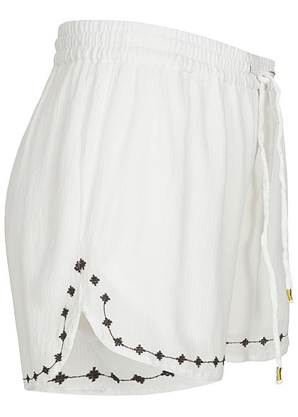 ONLY Damen Embroidered 2-Layer Summer Shorts bright weiss
