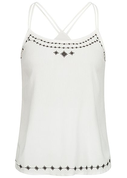 ONLY Damen Embroidered High-Neck Strap Top bright weiss