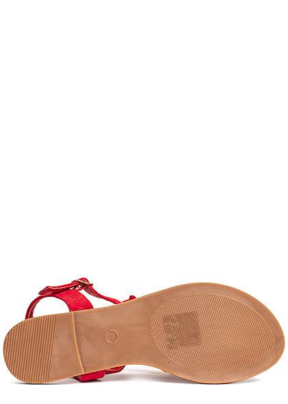 Seventyseven Lifestyle Damen Velour Toe Post Sandals Flower rot