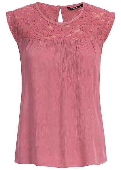 ONLY Damen Lace Top wine rosa