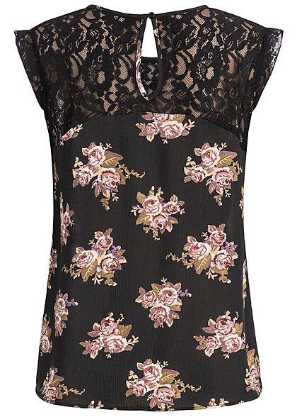 ONLY Damen Lace Top Flower Print schwarz braun