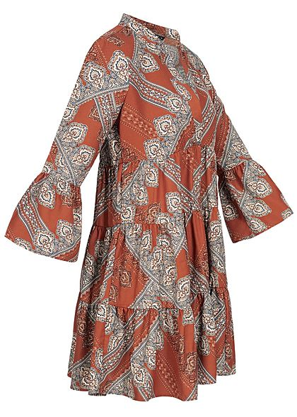 ONLY Damen 3/4 Sleeve Volant Dress Paisley Print Arabian Spice rot