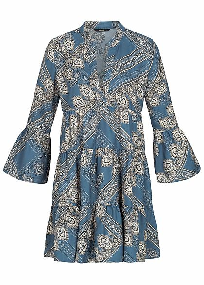 ONLY Damen 3/4 Sleeve Volant Dress Paisley Print horizon blau weiss