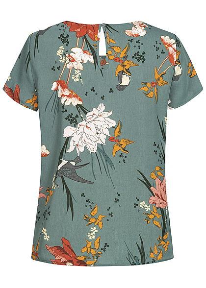 ONLY Damen Blouse Shirt Flower Print balsam grün