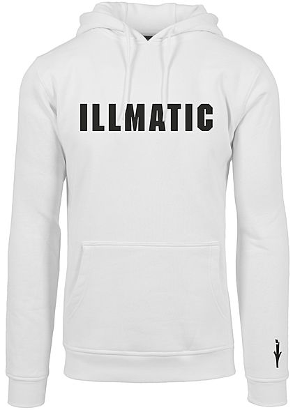 Illmatic Herren Hoodie Writing Logo Print weiss