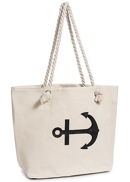 Styleboom Fashion Damen Beach Shopper Anchor Print beige schwarz