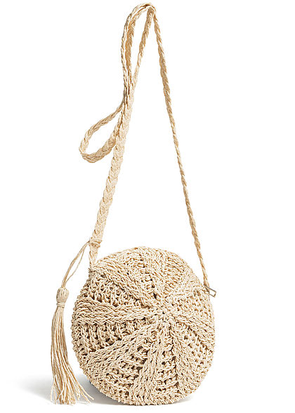 Styleboom Fashion Damen Basket Cross Body Bag beige