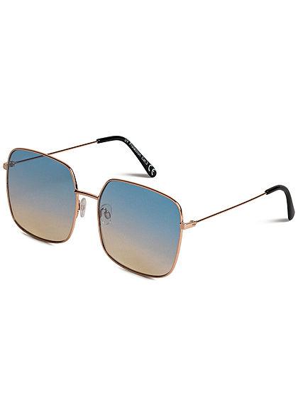 Seventyseven Lifestyle Damen Retro Square Sunglasses UV-400 Protection hell blau gelb